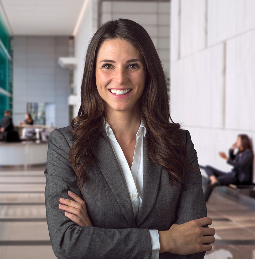 Smiling woman in bank lobby